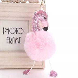 Accessories - Pink Flamingo Fluffy Pom Pom Keychain